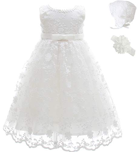 AHAHA Taufkleid Baby Mädchen Lange Taufe Festlich Kleid mit Hut...