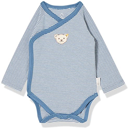 Steiff Unisex Baby Body Langarm GOTS, Coronet Blue, 050