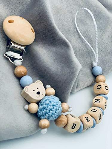 Glücksperle Schnullerkette babyblau Junge