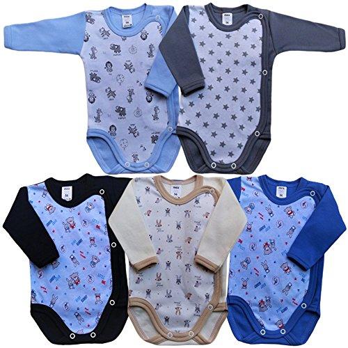 MEA BABY Unisex Baby Langarm Body aus 100% Baumwolle im 5er Pack,...