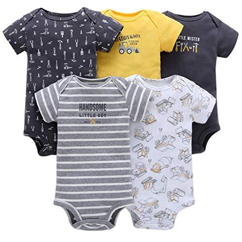 Baby Jungen Kurzarm-Body im 5er Pack Baumwolle Spieler Strampler...